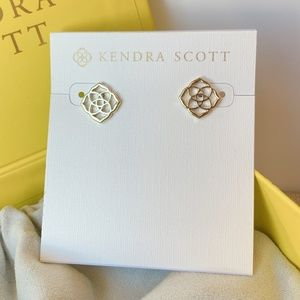 New Kendra Scott Logo Gold Dira Stud Earrings